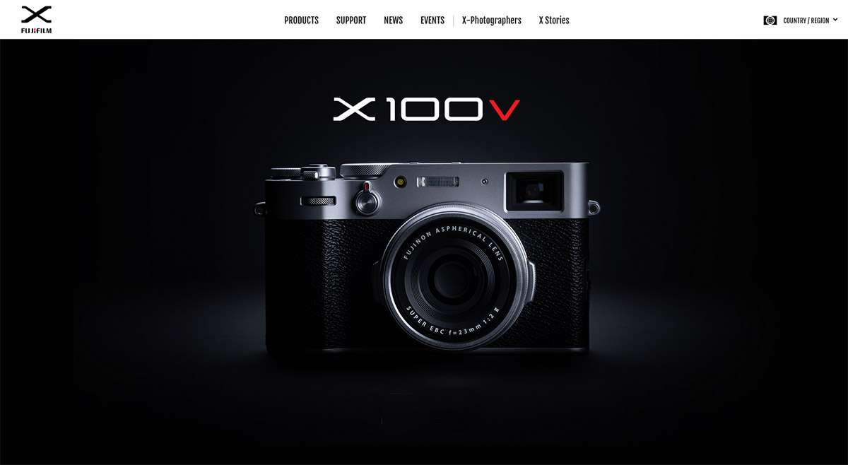 fujifilm x website screenshot fuji x100v