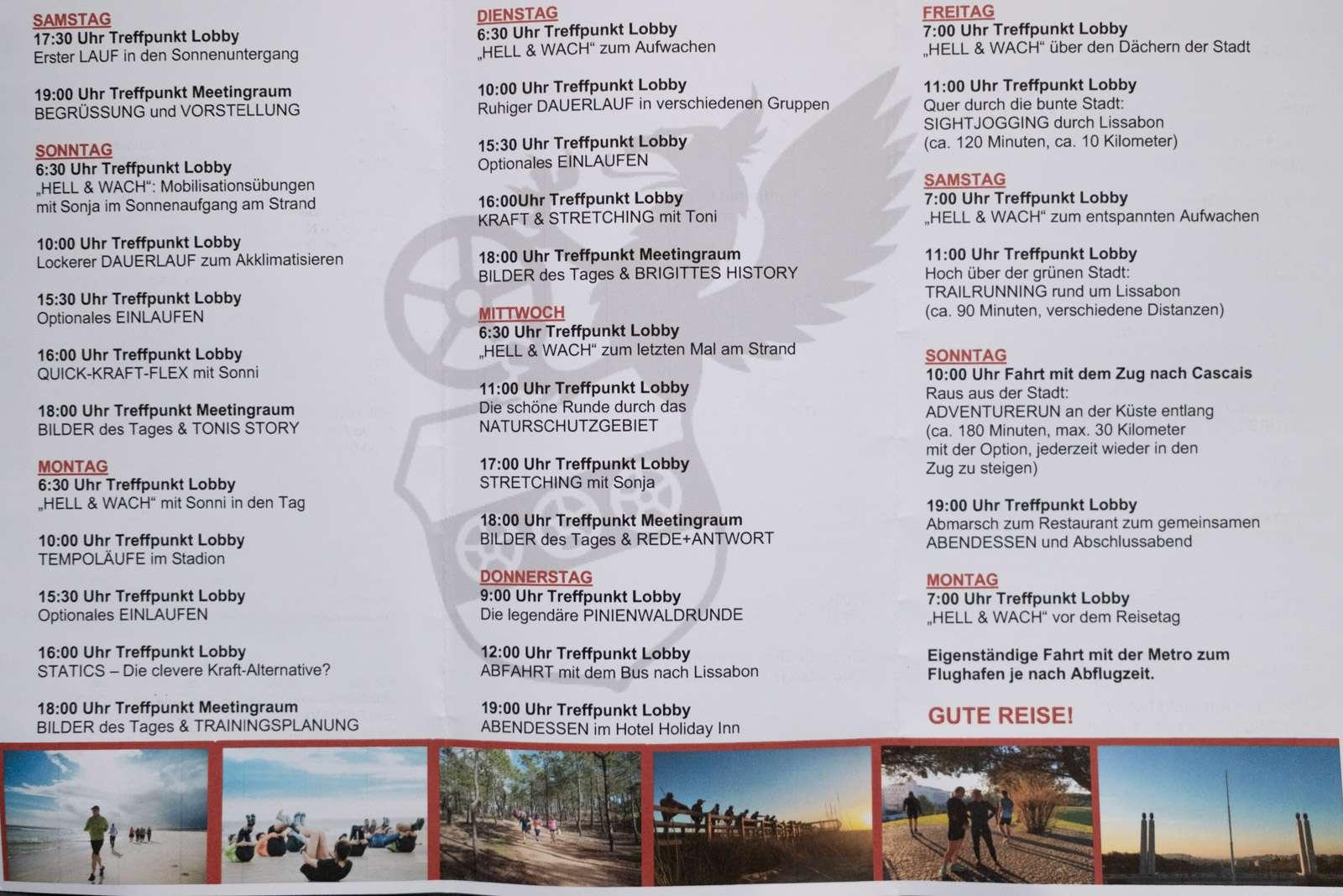 Opel Running Camp 2020 wochenplan
